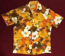 Vintage UI MAIKAI Orange Yellow Green Tie Dye Floral Hawaiian Shirt Mens Size L
