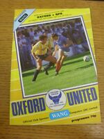 19/09/1987 Oxford United v Queens Park Rangers  (Creased). Footy Progs (aka bobf