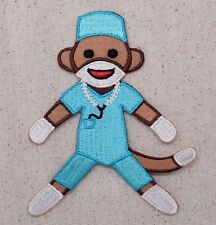 Sock Monkey SURGEON/Nurse/Doctor Blue Scrubs Iron on Applique/Embroidered Patch