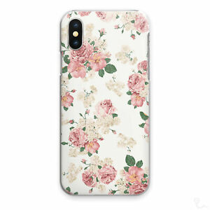 Vintage Floral Print Phone Case For iPhone 13/12/11/XR, Pink Flower Hard Cover