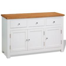 Wooden Sideboard Oak Wood Top Storage Drawers Cabinet Metal Knobs Rustic White