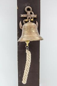Antique Brass Finish Anchor Ship Bell Rope Nautical Maritime Decor