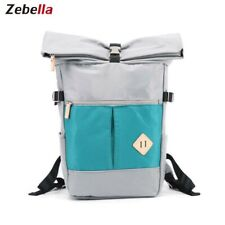 Canvas Leather Backpack Water-resistant Campus School Rucksack Book Bag Satchel