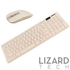 Blanco Inalámbrico Slim 2.4GHz Conjunto de Teclado Y Mouse Usb Para Laptop Lenovo