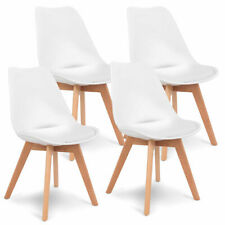 Asher Amada Modern Armless White Dining Chairs with Wood Legs - 4 Pieces