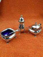 Antique Silver Plated Cruet Set, Mustard, Salt & Shaker & 2 x Spoons