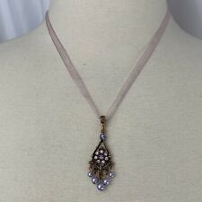 1928 Organza Ribbon Pendant Necklace Rhinestone Copper Faux Pearl Romantic