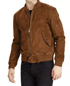 NWT $798 POLO RALPH LAUREN Men's Brown Suede Leather Bomber Jacket Size Lg