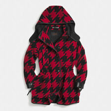 COACH Leather-trimmed Houndstooth Wool-blend Parka Red/Black size L
