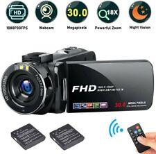 Cámara De Vídeo Grabadora FHD, 1080P de 30.0 MP videocámara de alta definición, 18X