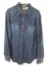 LEVIS Pearl Snap Western Shirt Denim Mens L Large Button Front NWT 2003