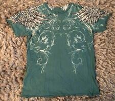 Affliction Live Fast Blue Green Graphic T-Shirt Mens Sz Medium Angel Wings