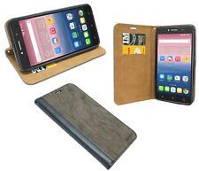 Handy Tasche Schutz Zubehör für Alcatel Pixi 4 ( 6 Zoll ) Book-Style Anthrazit
