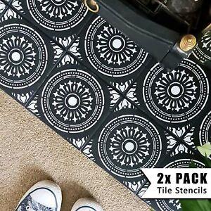 2x Tile Stencils - Bathroom Kitchen Wall Floor Tiles & Patio Slabs - Verona