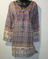 Top 1X Plus Brown Blue Floral Elephants Embroidery Henley Long Tunic NWT 170