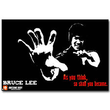 Bruce Lee Kung Fu Póster motivacional Seda 12x18 24x36 pulgadas