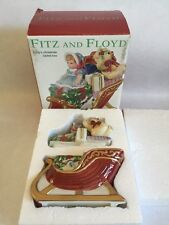 Fitz and Floyd Teddy's Christmas Lidded Box Sleigh Holiday Santa