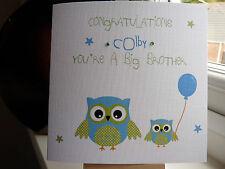 Lindo hecho a mano personalizado nuevo bebé hermana o tarjeta de Gran Hermano De Búho
