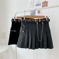 Skirt Women Frill Pocket Chain Japanese Cargo Girl Pleated Gothic Punk Cool