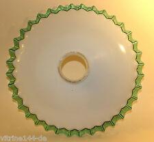 JUGENDSTIL Lampenglas Röckchenschirm opal mit angeschmolzenem grünen Glasrand #3