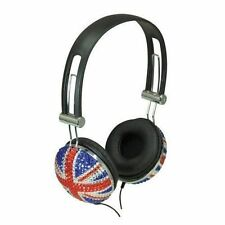 Crystal Union Jack DJ Mp3 Headphones Lightweight Earphones Great British Flag