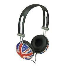 Crystal Union Jack DJ Mp3 Headphones Lightweight Earphones Great British Flag