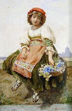 Jugendstilgemälde, signiert H.G 1911 / Junge Italienerin mit Blumenkorb in Rom