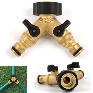 3/4'' 2-Way Double Garden Brass Tap Water Hose Pipe Splitter Adapter Connector