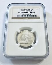 1999 S Silver 25C CONNECTICUT State Quarter NGC PF70 ULTRA CAMEO Brown Label