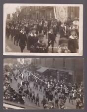 Lancs St Helens? BLACKBROOK x2 St Mary's Lowehouse Whit Monday walk 1914 RP PPCs