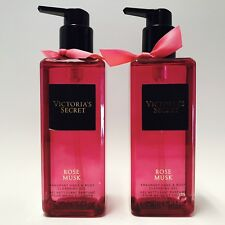 2 Victoria's Secret Rose Musk Fragrant Hand & Body Cleansing Gel 8.4 oz