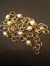 """VERONESE 30"""" Large Link 18K Gold Clad Italy Pearl Necklace 925"""