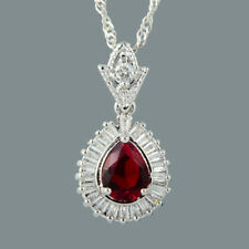 18K White Gold Plated Red Ruby Gem Stone Slide Pendant Necklace Curb Chain