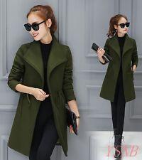 Women's Long Woolen Coat Ladies Large Lapel Winter Warm Slim Thick Jacket