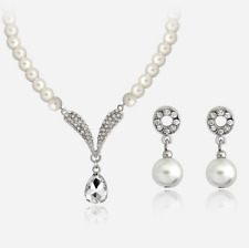Fashion Wedding Bridal Jewelry Sets Crystal Imitation Pearl Necklace Earrings