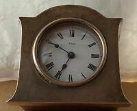 Silver and oak 8 day mantel clock for repair, height is 3 inches,