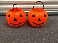 Vintage Halloween Jack O Lantern Pumpkin Candy Buckets Blow Mold Lot of 2 Pails