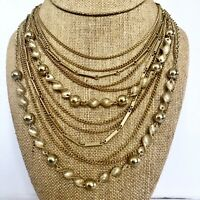 Vtg Retro gold tone wide chunky choker chain bib necklace waterfall multi strand