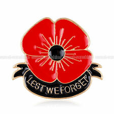 New Red & Black Remembrance Poppy Brooch Pin Badge Gold Flower Gift UK STOCK