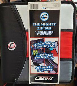 Case-It Mighty Zip Tab 3-Ring Zipper Binder D-156-B 3in Capacity Black