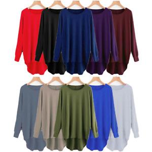 Womens Plain Oversized Long Sleeve Batwing Dip Hem Baggy Ladies loose Top Plus