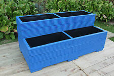LARGE WOODEN GARDEN STEP PLANTER TROUGH TWO TIER VEG BED WOOD PLANT POT