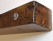 Fireplace Mantel Shelf 8 x 8 x 66 Rustic Beam - Antique Forged Washer & Bolts