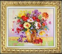 Framed Oil Painting, Signed Original Impressionist Bouquet, Texture Wall Art