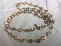 "Vtg Signed Swan Swarovski Crystal Aurora Borealis Gold Tone Necklace 35"" 160cttw"