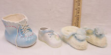 Vinage Crochet Baby Booties w/ 2 Ceramic Shoe Planters Figurines Blue Cream