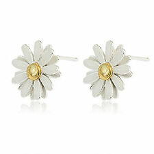 Cream oil spot daisy stud earrings, 50s, 60s 70s retro