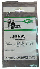 """NTE21 Silicon PNP Transistor: High Pwr, Low Collector Sat: M"""" Type Case: New"""