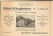 65 CAUTERETS HOTEL D'ANGLETERRE MEILLON PUBLICITE 1925