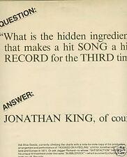 JONATHAN KING 1974 Promo Poster Ad THREE TIMES A HIT